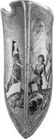Hövisk kärlek på medeltida brittisk sköld med inskriften Vous ou la mort (Er eller döden).