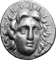 Framsidan av ett antikt mynt från Rhodos. Ansiktet tillhör solguden Helios, Rhodos huvudgud, som på 300-talet f.Kr. stod staty vid inloppet till Rhodos hamn och betraktades som ett av antikens sju underverk.