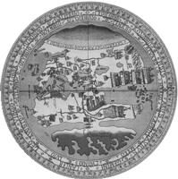 En venetiansk världskarta från 1442. Jerusalem är världens mittpunkt kring vilken de då kända världsdelarna Europa, Asien och Afrika ordnats. Medelhavet är placerat till vänster om och Indiska oceanen till höger om denna mittpunkt. Alltsammans omges av hav.